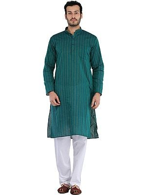 South-Cotton Kurta Pajama Set with Thread Weave