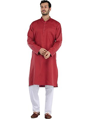 Plain Casual Kurta with White Pajama Set