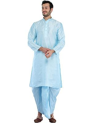Plain Wedding Dhoti Kurta with Embroidery on Neck
