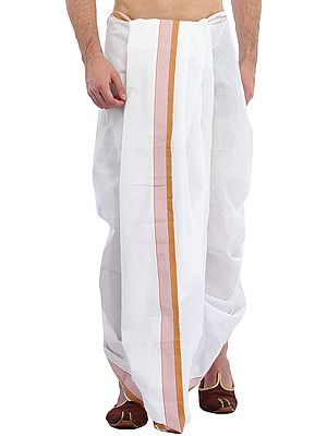 White Dhoti and Angavastram Set with Doe Brown Woven Border