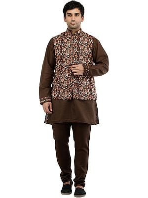 Nutmeg-Brown Three Piece Kurta Pajama Set with Digital Printed Waistcoat