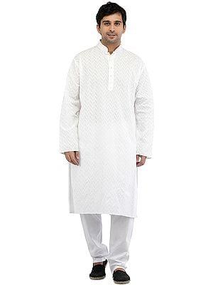 Snow-White Kurta Pajama with Lucknavi Chikan Embroidery All-Over