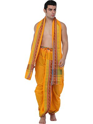 Ready to Wear Dhoti and Angavastram Set with Woven Peacocks and Motifs on Border