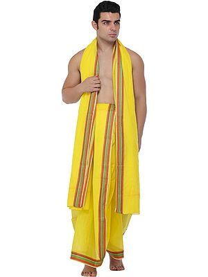 Blazing-Yellow Dhoti and Angavastram Set with Woven Border in Multicolor Thread