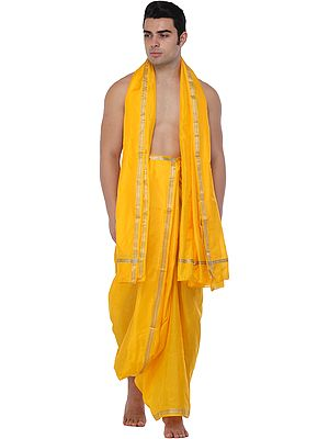 Traditional Dhoti and Angavastram set for Puja with Golden Thread Weave
