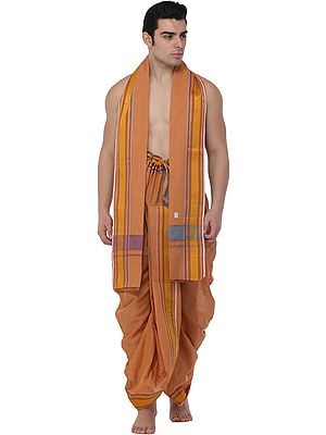 Apricot-Tan Dhoti and Angavastram Set with Woven Bootis on Border in Multicolor Thread