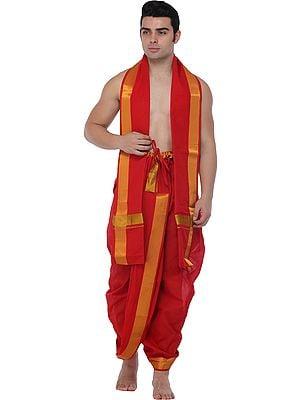 Ready to Wear Dhoti and Veshti Set from Kerala with Zari Woven Golden Border
