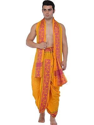 Radiant-Yellow Ready to Wear Dhoti and Angavastram Set with Woven Peacocks and Bootis