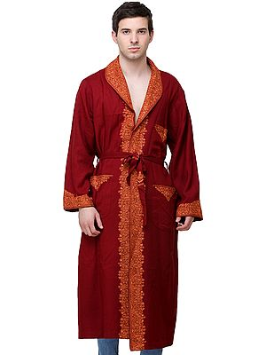 Deep-Claret Kashmiri Robe with Ari Embroidered Paiselys and Florals