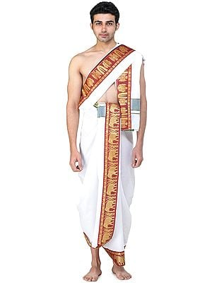 Vrindawan Dhoti and Angavastram Set with Woven Golden Zari Border