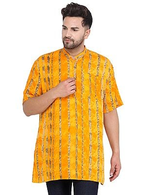 Saffron Casual Kurta with Printed Stripes and Short Sleeves from Iskon Vrindavan by BLISS