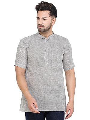 Vintage-Khaki Casual Kurta with Short Sleeves from Iskon Vrindavan by BLISS