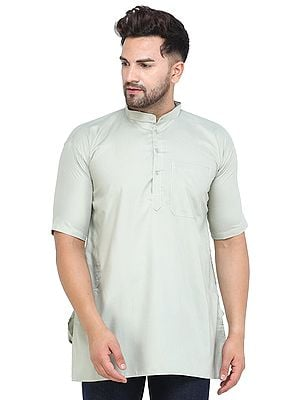 Casual Solid Cotton Kurta with Short Sleeves from Iskon Vrindavan by BLISS