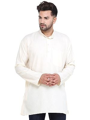 Pearled-Ivory Casual Plain Kurta with Long Sleeves from Iskon Vrindavan by BLISS