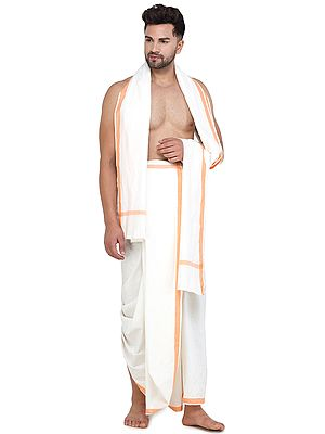 Plain Dhoti and Angavastram Set with Striped Border from Iskon Vrindavan by BLISS