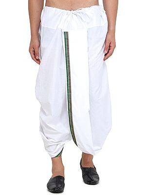 Ready to Wear Cotton Dhoti with Woven Border from Iskon Vrindavan by BLISS