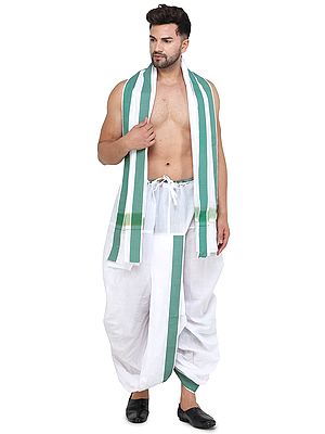 Ready to Wear Dhoti and Angavastram Set with Wide Striped Border from ISCKON Vrindavan by BLISS