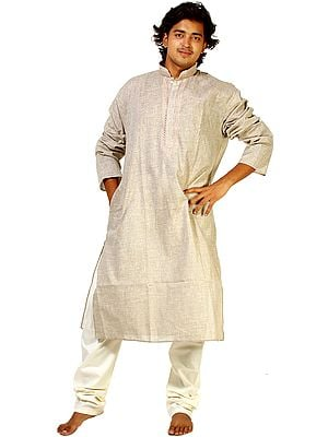 Taupe-Gray Kurta Pajama with Embroidery on Neck and All-Over Woven Checks