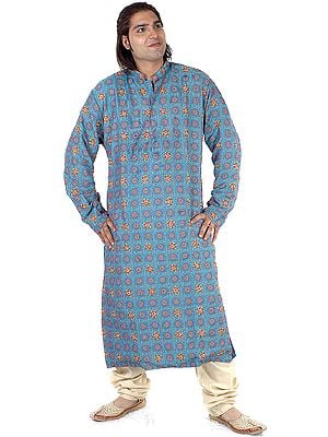 Turquoise Kurta Set with Chakra Woven Bootis and Beadwork