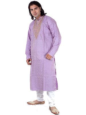 Viola Kurta Pajama with All-Over Paisleys Woven in Self and Beadwork on Neck