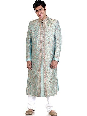 Wedding Sherwani with All-Over Multi-Color Embroidery