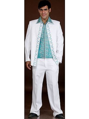 White and Turquoise Jodhpuri Three Piece Suit with Brocaded Inner Jacket