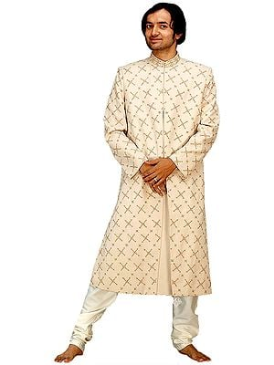 Ivory Sherwani with All-Over Embroidery