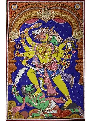 A Fine Painting of Five-Faced Hanuman