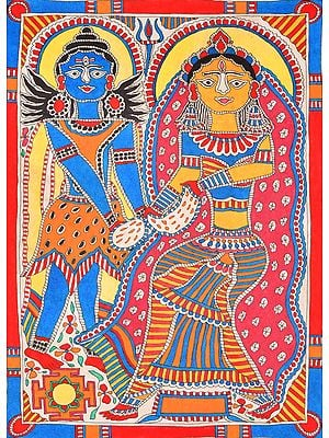 A Fine Painting of Lord Shiva and Parvati with Yantra