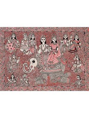 Indra and Indrani with Other Gods and Goddesses
