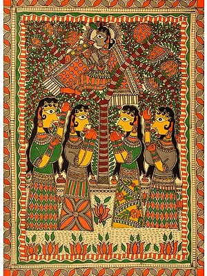 Krishna stealing clothes of Gopis