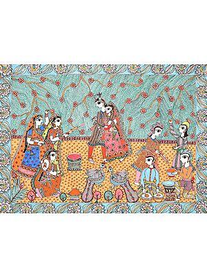 Radha and Krishna Play Holi with Companions