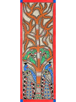 Tree of Life with Peacock and Parrot Pairs