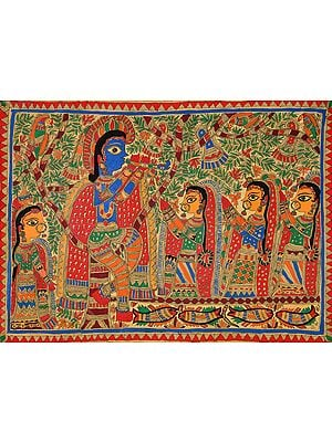 Trees Burst with Flowers and Colours When Krishna Blows His Flute