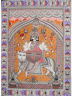 Eight-armed Durga: A Masterpiece of Madhubani Art-style