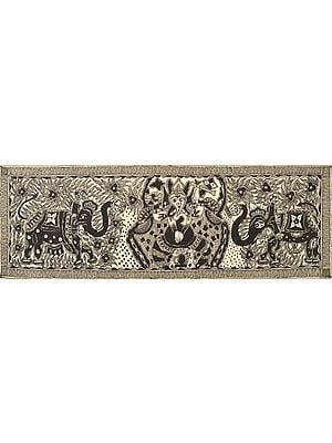 Lord Ganesha Flanked by Elephants