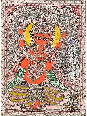 Four Armed Lord Ganesha In Mithila