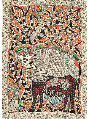 Tree of Life with Elephant  and Peacock