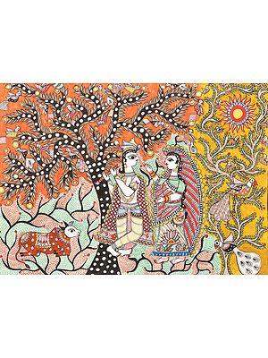 Radha Krishna  in a Grove