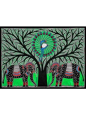 Dancing Peacock on Tree of Life with Elephant Pair