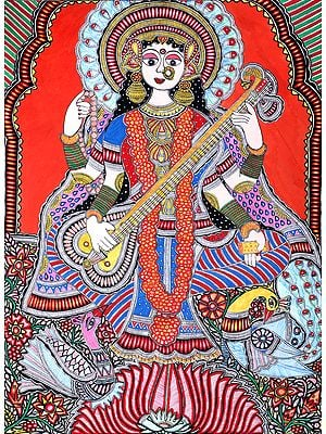 Vibrant Shringar Of The Devi Saraswati