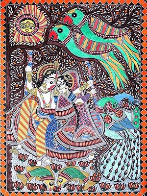 Radha Krishna  Swinging Over The Fish Pond
