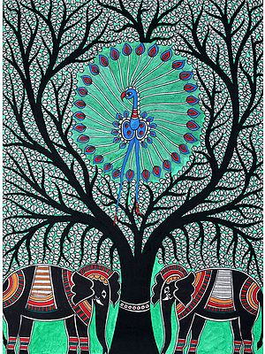 Dancing Peacock on Tree of Life with Pair of Elephants