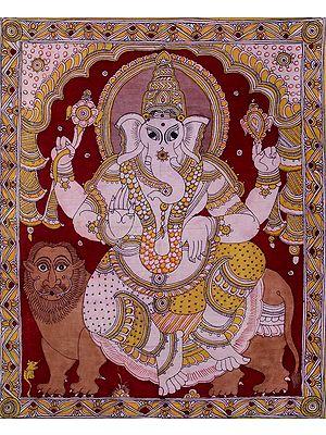 Chaturbhuja Ganesha Seated on Lion