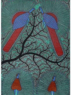 Peacocks Atop The Sacred Tree