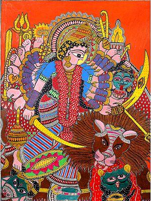 Eighteen-Armed Goddess Durga Killing Mahishasura