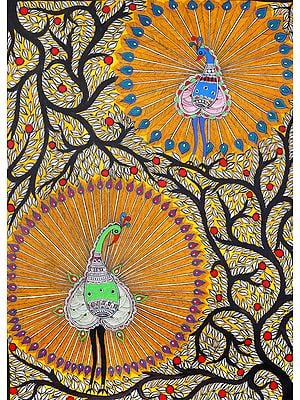 Dancing Peacocks on The Vibrant Tree of Life
