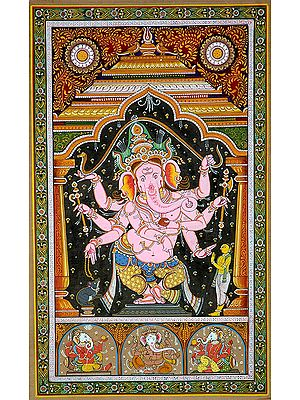 Eight-Armed Pink Dancing Ganesha with Three of His Forms Below