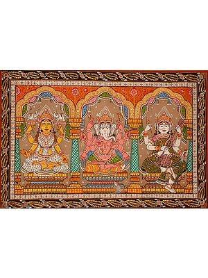 Ganesha with Lakshmi & Saraswati
