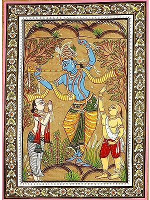 Krishna Lifting the Mountain Govardhana with Shridama and Madhumangal
